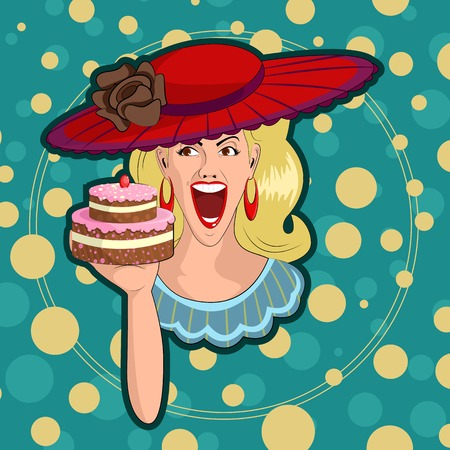 happy birthday girl: Retro lady with cake in vector illustration