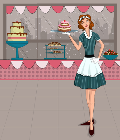 retro lady: Retro lady in bakery shop in vector illustration