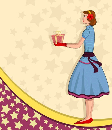 retro lady: Retro lady with gift in vector illustration