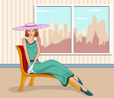 glamour woman elegant: Retro lady sitting on couch  in vector illustration