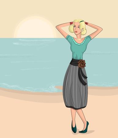 retro lady: Retro lady on beach in vector illustration Illustration