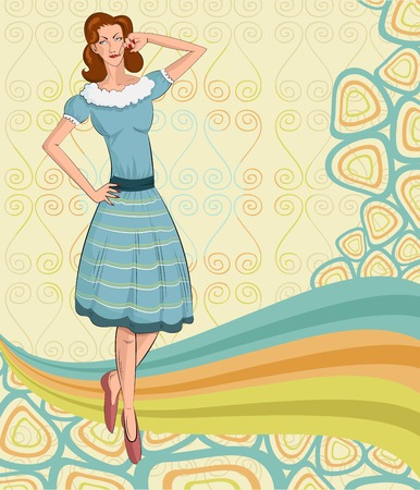 victorian lady: Retro lady standing in style  in vector illustration