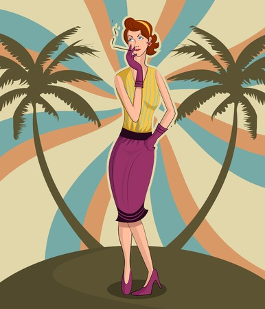 50s adult: Retro lady smoking near palm tree in vector illustration