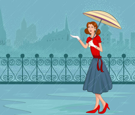 Retro lady with umbrella in rain in vector illustration Vector