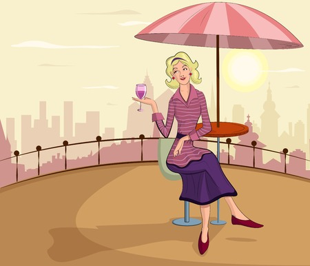 retro lady: Retro lady with wine glass in vector illustration Illustration