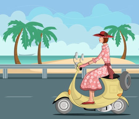 Retro lady riding scooter in vector illustration Vector