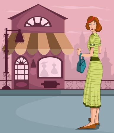 retro lady: Retro lady shopping in vector illustration