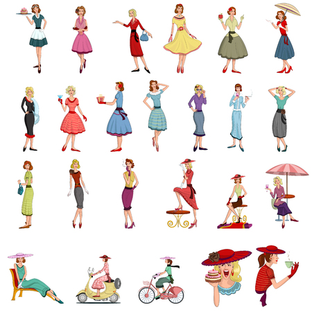 Retro lady standing in style  in vector illustration Vector