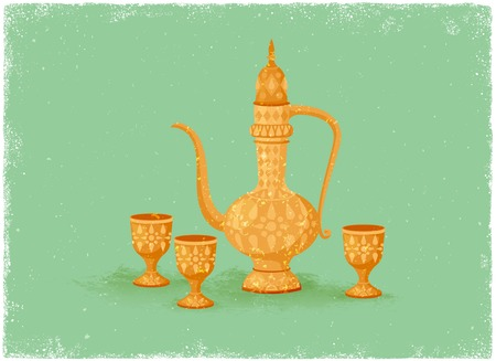 water jug: Antique drinking pot and wine glass in vintage vector style Illustration