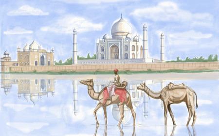 famous painting: painting style illustration of Taj Mahal India