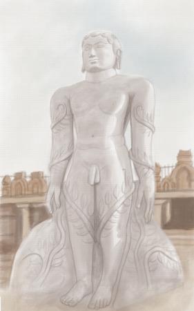 ahimsa: painting style illustration of Statue of Mahavira Stock Photo