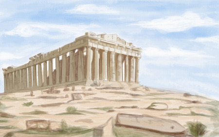 parthenon: painting style illustration of Athens Parthenon ancient Temple