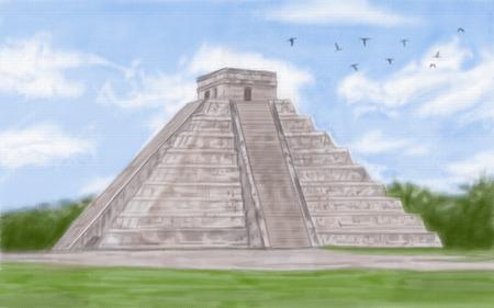 itza: painting style illustration of Chichen Itza Mayan Stock Photo