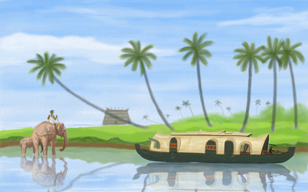 rural india: painting style illustration of Backwater of Kerala Stock Photo