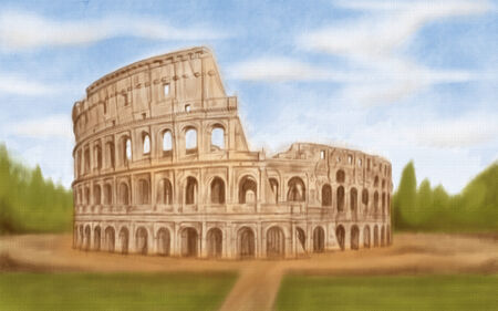 painting style illustration of Roman Colosseum