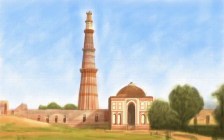 minar: painting style illustration of Qutub Minar India