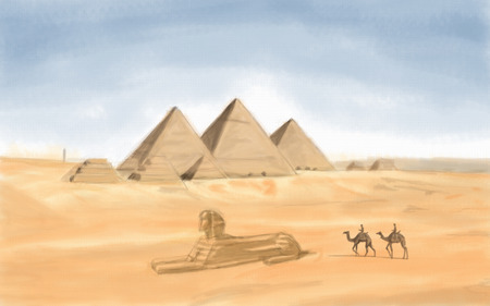 khafre: painting style illustration of Egyptian Pyramid