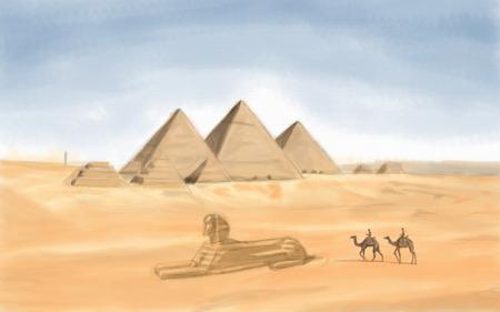 khafre: painting style illustration of Egyptian Pyramid