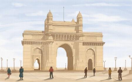 painting style illustration of Gateway of India illustration