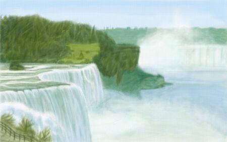 the edge of horseshoe falls: painting style illustration of Niagara Falls