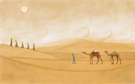 painting style illustration of desert of Rajasthan illustration