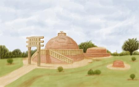 sanchi: painting style illustration of Sanchi Stupa