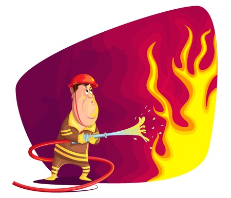 firefighting: illustration of firefighter extinguishing fire