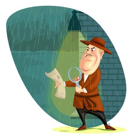 illustratie van detective-agent zoeken aanwijzingen