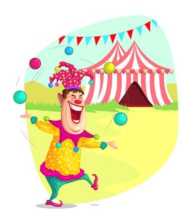 illustration of circus clown doing juggling