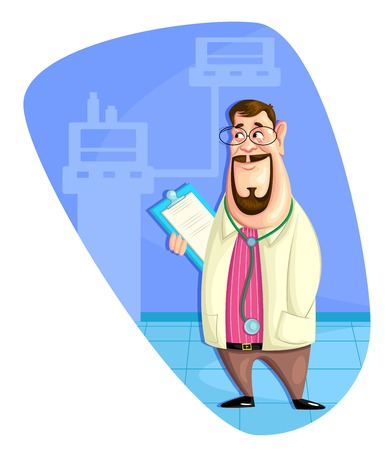 clinical staff: illustration of doctor with clipboard
