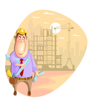 illustration of architect on construction site  Vector