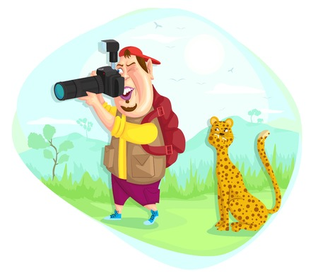 illustration of wildlife photographer in vector Vector