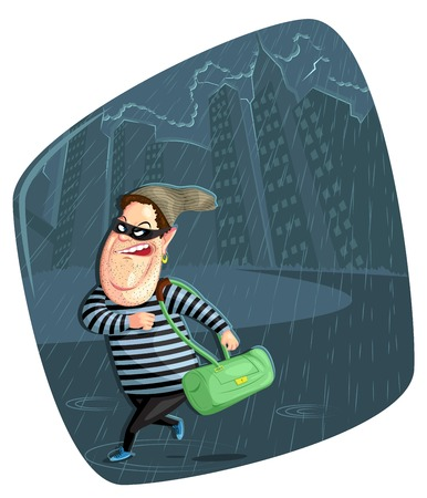burglary: illustration of thief stealing bag in vector