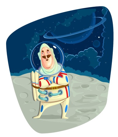 cosmology: illustration of astronaut on space in vector