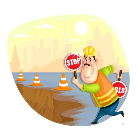 workplace safety: illustration of construction worker in vector Illustration