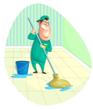 illustration of sweeper moping floor in vector