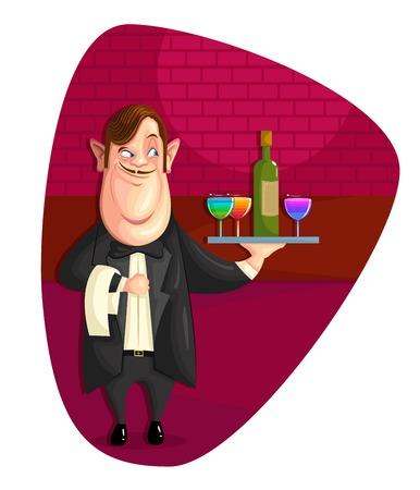 hotel staff: illustration of waiter serving drinks in vector