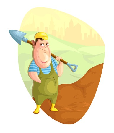 digging: illustration of person digging ground in vector Illustration