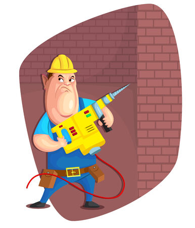 workwear overall: illustration of person with driller in vector