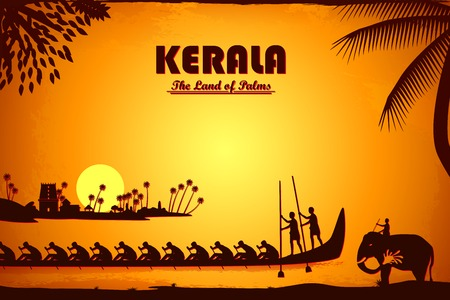 asian culture: illustration depicting the culture of Kerala, India