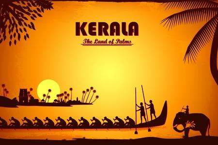 Illustration, die die Kultur von Kerala, Indien