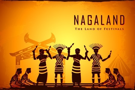 asian lifestyle: illustration depicting the culture of Nagaland, India Stock Photo