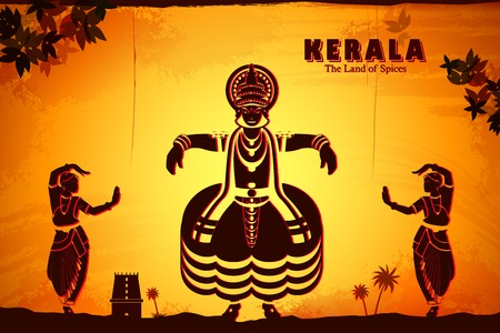 ケララ州、インドの文化を描いたイラスト