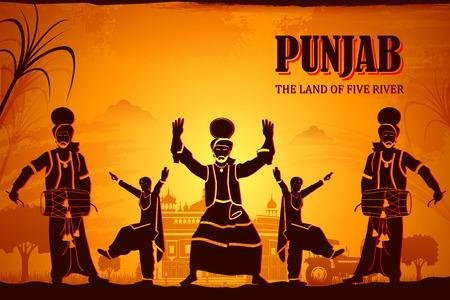 illustratie beeltenis van de cultuur van Punjab, India