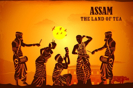 rural india: illustration depicting the culture of Assam, India