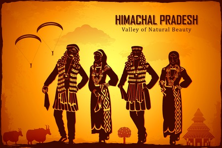 illustration depicting the culture of Himachal Pradesh, India 版權商用圖片