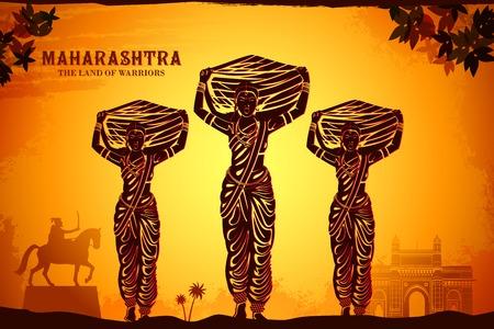 navratri: illustration depicting the culture of Maharashtra, India