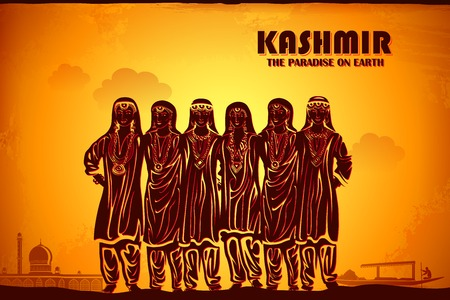 india culture: illustration depicting the culture of Kashmir, India