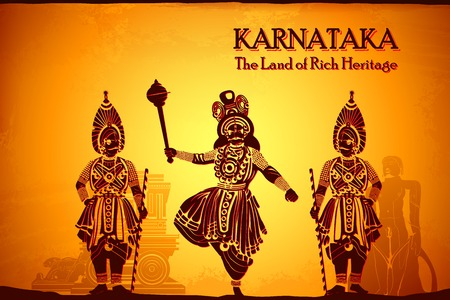 karnataka: illustration depicting the culture of Karnataka, India