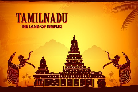 illustration depicting the culture of Tamilnadu, India Фото со стока